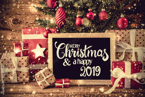 Fotografía  Tree, Retro Gifts, Calligraphy Merry Christmas And A Happy 2019