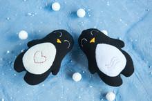 Two Handmade Soft Toys Penguin...