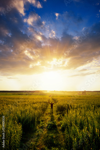 Fototapeta Feel good freedom concept. Happy young asian man enjoying freedom with open hands in farm and sunset sky background. obraz na płótnie