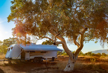 Large Caravan And Four Wheel Drive Vehicle Camped Next To A Gum Tree In The Karijini National Park, Australia In The Late Afternoon Sun.