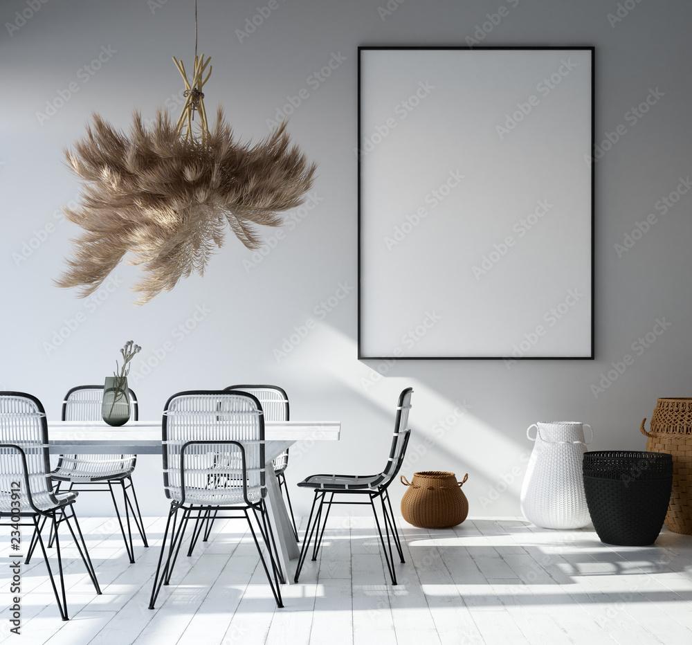 Fototapeta Home interior with poster mockup, Scandinavian style, 3d render