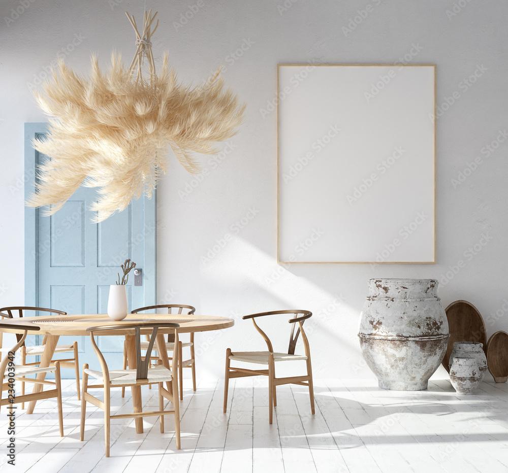 Fototapeta Home interior with poster mockup, Scandinavian Bohemian style, 3d render