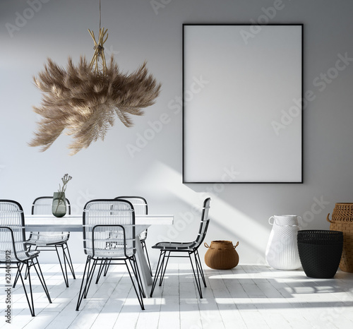 Home interior with poster mockup, Scandinavian style, 3d render