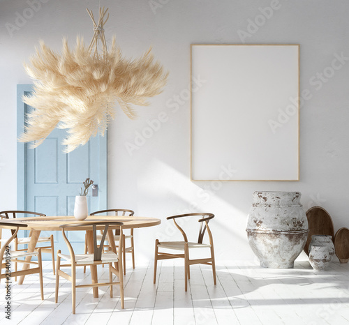 Home Interior With Poster Mockup Scandinavian Bohemian Style 3d