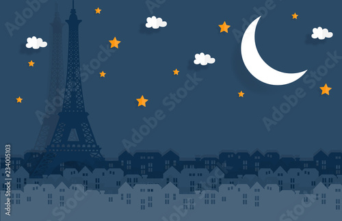 Photo Paris in paper cute style with city and Eiffel tower, Night in Paris, France