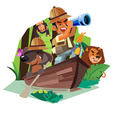 Explorer Man With His Dog Rowing On The Wooden Boat In Rain Forest River To Explorer For Animal And Nature - Vector