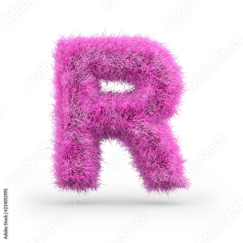 Uppercase fluffy and furry font. 3D Wall mural