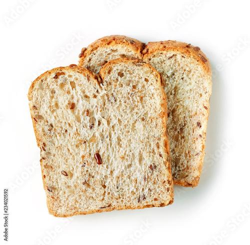 Leinwand Poster bread slices on white background