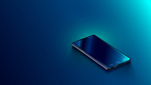 Modern Black Smart Phone Lies On A Smooth Dark Blue Surface Or Table In Perspective View. Realistic Vector Illustration Isometric Smartphone. New Shiny Mobile Cellphone With Reflection On The Screen