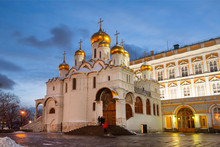 Annunciation Cathedral Of The Moscow Kremlin In The Winter Evening, Russia