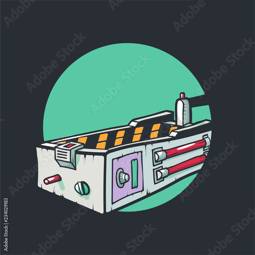 Photo  A trap for ghosts isolated. Vector illustration.