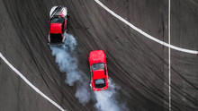 Aerial View Two Cars Drift Bat...