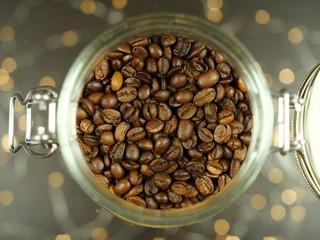 Zdrowa żywność - Kawa - ziarna kawy w słoiku