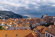 View Over The Sunshined Old City Dubrovnik With Mountains, Croatia