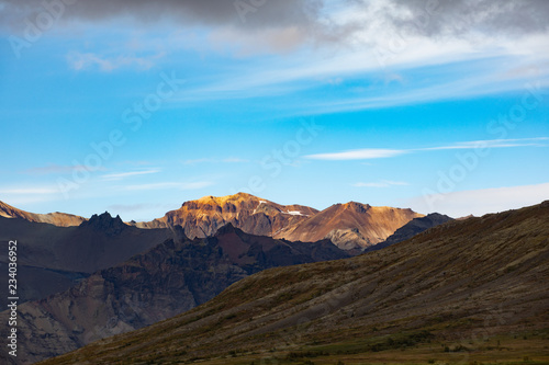 Poster Blauw Mountain landscape with glacier and stones. Bold background