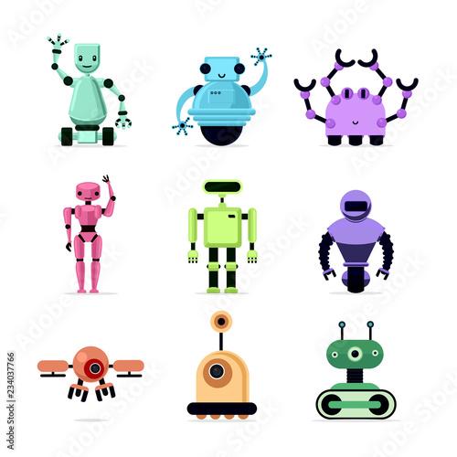 Cartoon robots set isolated on white vector illustration Tableau sur Toile