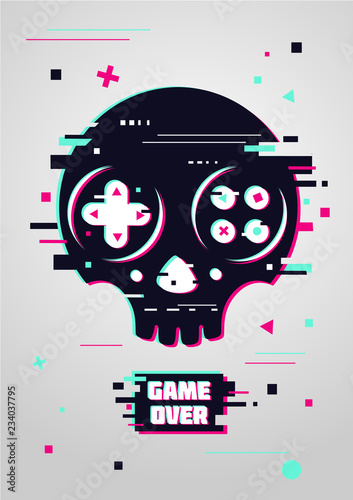 Cuadros en Lienzo Game over glitchy sign with skull and gamepad