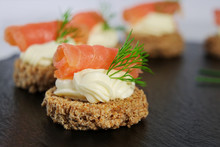 Smoked Salmon Canapes With Cream Cheese And Dill
