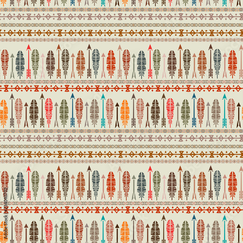 Canvas Prints Boho Style Ethnic seamless pattern, feathers, arrows