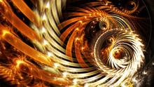 Golden Futuristic Clockwork Illustration. Modern Bright Dynamic Abstract Digital Background For Wallpaper, Interior, Flyer Cover, Poster, Banner, Booklet. Fractal Artwork For Creative Graphic Design.