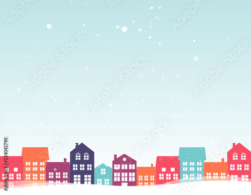 Garden Poster Light blue Christmas landscape with colorful houses. Winter background. For design flyer, banner, poster, invitation