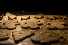Christmas Cookies On Baking Tray. Gingerbread Cookies. Chritsmas Concept.