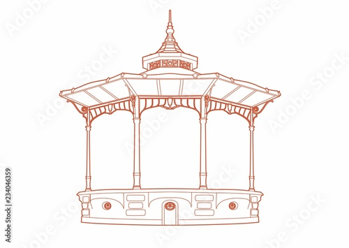 Red drawing of a bandstand Canvas Print