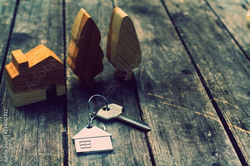 Home key with house keychain and wooden tree and home mockup on vintage wood bac Wallpaper Mural