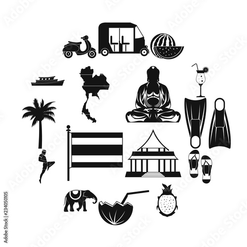 Thailand icons set in simple style for any design Wallpaper Mural