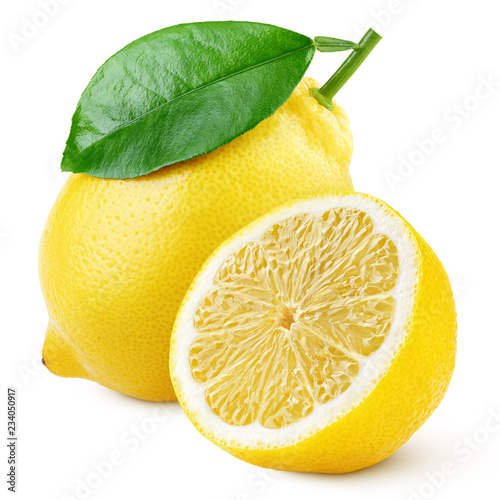 Ripe yellow lemon citrus fruit with green leaf and half isolated on white background. Lemons with clipping path. Full depth of field.