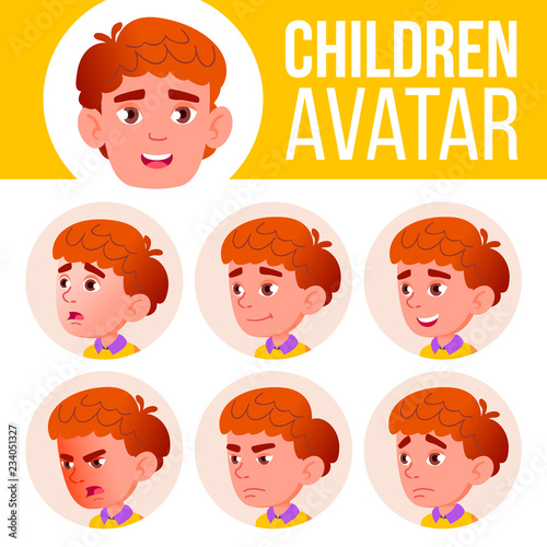 Photo Stands Illustrations Boy Avatar Set Kid Vector. Primary School. Face Emotions. Red Head, Icon. Small, Junior. Casual, Friend. Cartoon Head Illustration
