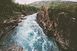 Sweden landscape canyon river Abiskojakka travel aerial view Abisko national park wilderness nature summer season scandinavian scenery