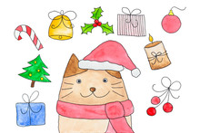Watercolor Of Christmas Symbol Theme With Cat Cartoon In Santa Claus, Christmas Tree, Gift Box And Other Decoration Isolated On White Background. Drawing By Hand And Painted Illustration.