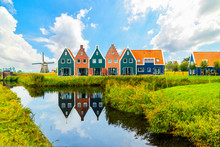 Volendam Is A Town In North Holland In The Netherlands. Colored Houses Of Marine Park In Volendam. North Holland, Netherlands..