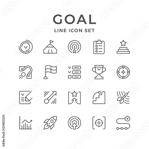 Set line icons of goal Wall mural
