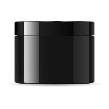 Round Glossy Black Glass Cosmetic Jar With Lid For Body Cream, Gel, Butter, Bath Salt, Skin Care, Powder. Realistic Cosmetics Packaging Mockup Template. Vector Illustration.