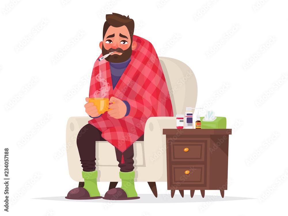 Fototapeta Sick man. Flu, viral disease. Vector illustration