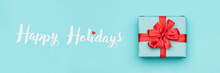 Christmas Banner. Pastel Blue Festive Winter Holidays Backdrop.