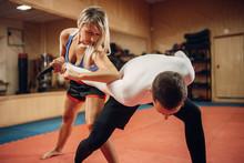 Woman Makes Elbow Kick, Self-d...