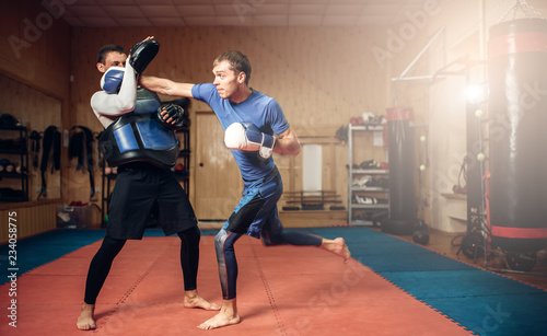 Photo  Male kickboxer in gloves practicing hand punch