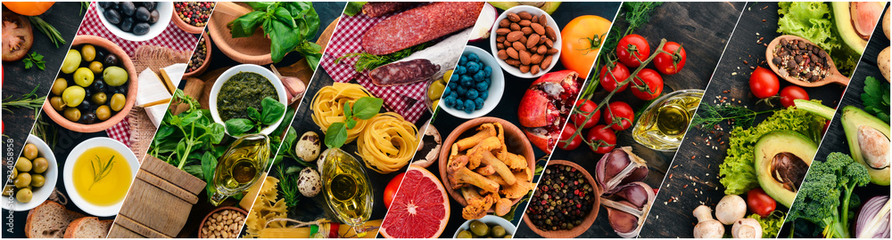 Fototapety, obrazy: Collage. Background of vegetables, fruits and spices. Top view. On a wooden background.