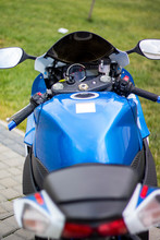 Photosessions Of A Motorcycle Suzuki Gsxr 2011. Blue With A White Bike With A Hat Helmet. Fall 2018, Lviv. Ukraine.