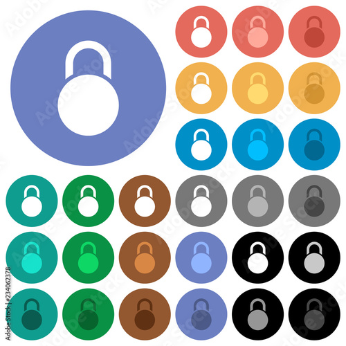 Fotografie, Obraz  Locked round padlock round flat multi colored icons