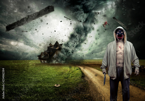 Fotografie, Obraz  Evil Demon Zombie Ghost Monster With Knife In The Midst Of A Raging Tornado