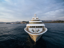 Stunning Bow View Of White Motor Yacht