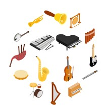 Musical Instruments Set Icons In Isometric 3d Style On A White Background