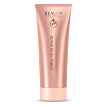 Cosmetic Tube Mockup Template In Rose Gold Color. Jar For Cream, Ointment, Mask, Clay, Moisturizer. High Quality Vector Packaging.