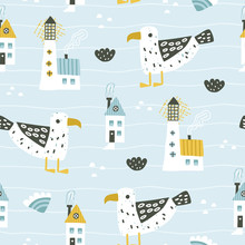 Cute Seamless Sea Pattern With...