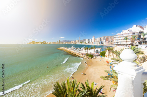 Benidorm balcony - view of Poniente beach, port, skyscrapers and mountains, Spain