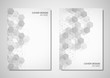 Vector brochure or cover design with hexagons pattern. Geometric abstract background with simple hexagonal elements.